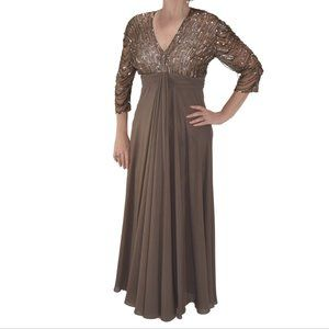 MAC DUGGAL Beaded 3/4 Sleeve Formal Gown Brown